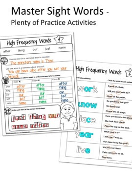 Fry Word Activities or Centers