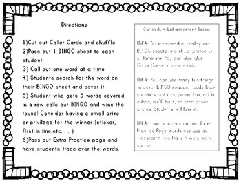Fry Word/Sight Word BINGO Game Words 1-25