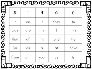 Sight Word BINGO Game Words 1-75