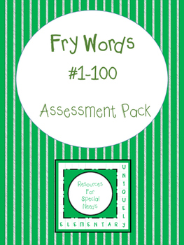 Fry Words #1-100 Assessment Pack