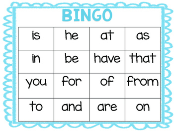 Fry Words 1-100 Bingo