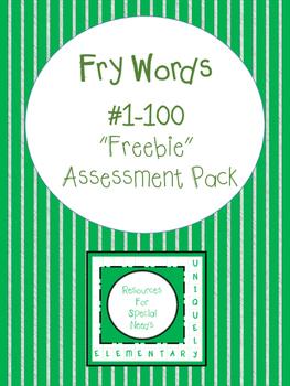 "Fry Words #1-100 ""Freebie"" Assessment Pack"
