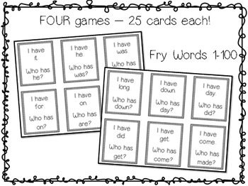 Fry Sight Words 1-100: I have, Who has?