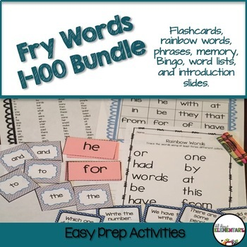 Fry Words 1-100 Bundle