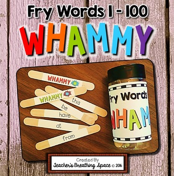 Fry Words 1-100 --- Sight Word Sticks Literacy Center --- Sight Word Whammy