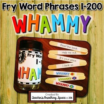 Fry Word Phrases 1-200 - Sight Word Sticks Literacy Center - Sight Word Whammy