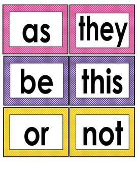Sight Words Word Wall Cards Polka Dot Borders