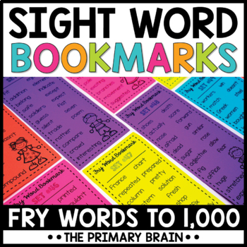 Fry Words #1-1000 Sight Word Bookmarks BUNDLE!!