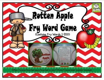 Fry Word Card Game Apple Theme