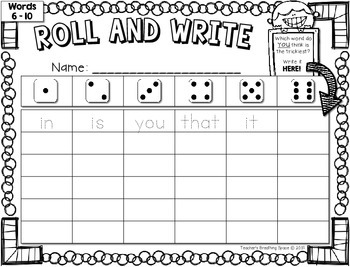 Fry Words 1-200 -- Roll, Read and Write Fry Words --- Sight Word Fluency Game