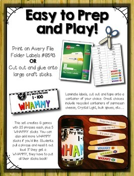 Fry Words 1-200 & Fry Word Phrases--- Sight Word Sticks BUNDLE