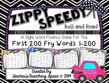 Fry Words 1-200 --- Zippy Speedy Roll And Read --- Sight Word Fluency Game