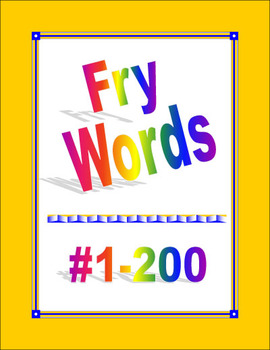 Fry Words #1-200 for Word Wall