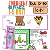 Fry Words 1 to 5 Emergent Fluency Unit