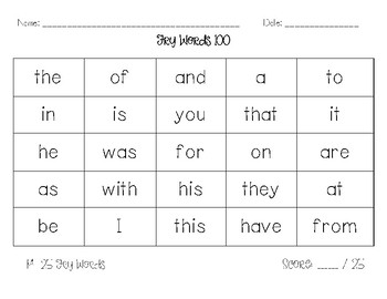 Fry Words 100 - 500 Assessment Checklist