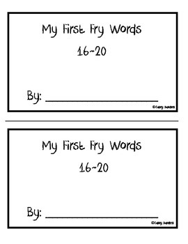 Fry Words 16-20, Trace, color and build