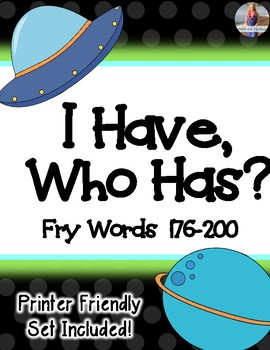 "Fry Words 176-200  ""I Have, Who Has?"""