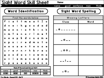 Sight Word Skill Sheets - Fry Words - Second 100