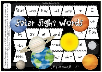 Fry Words 19 - 37 Solar System Themed Sight Word Board Game
