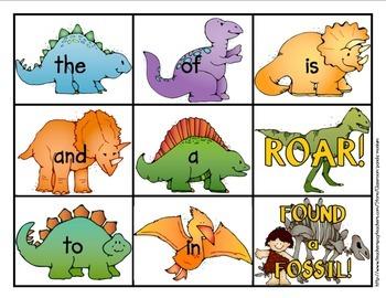 Fry Word Card Game Dinosaur Theme