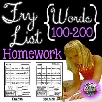 Fry Words: Fluency Homework {English and Spanish} 100-200