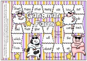 Fry Words 38 - 56 Gangnam Farm Themed Sight Word Board Game