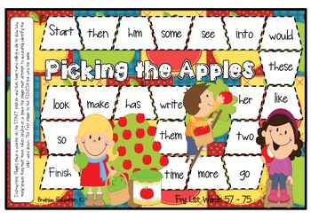 Fry Words 57 - 75 Apple Picking Themed Sight Word Board Game
