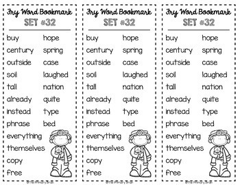 Fry Words #601-800 Sight Word Bookmarks