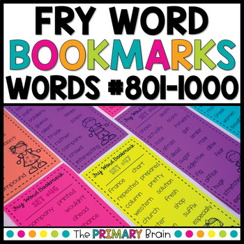 Fry Words #801-1000 Sight Word Bookmarks