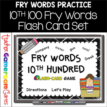 Fry Words - 10th 100 Words - Flash Card Set