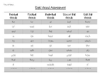 Fry Words Assessment Sheet