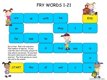 Fry Words Board Game 1-400
