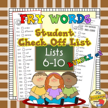 Fry Words - Check Lists 6-10 BUNDLED
