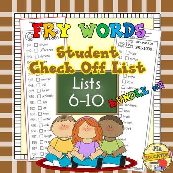 Fry Words - Check Lists 6-10 BUNDLED