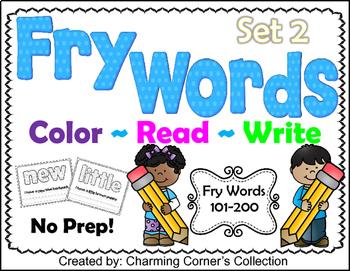 Fry Words ~ Color, Read & Write Set 2