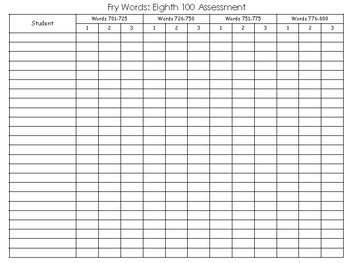 Fry Words: Eighth 100 Assessment Pack