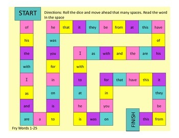 Fry Words First 100 Game Boards