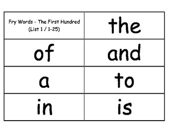 Fry Words Flash Cards: The First 100
