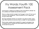Fry Words: Fourth 100 Assessment Pack