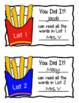 Fry Words French Fry Boxes - Word Wall, Tracking Bulletin Board, Flash Cards