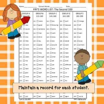 Fry Words - Check List 2