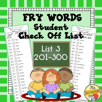 Fry Words - Check List 3