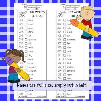 Fry Words - Check List 4