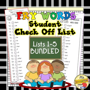 Fry Words - Check Lists 1-5 BUNDLED