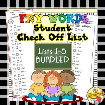 Fry Words - Check Lists 1-5 BUNDLED