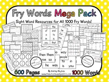 Fry Words Mega Pack {All 1000 Words}