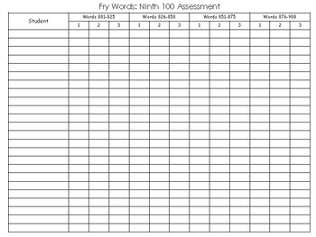 Fry Words: Ninth 100 Assessment Pack
