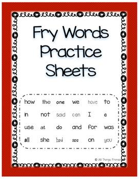 Kindergarten Fry Words Packet