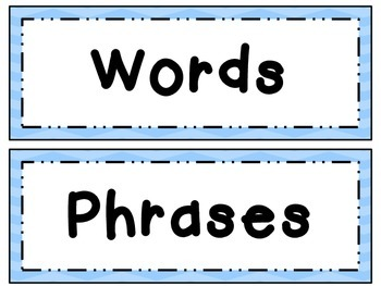 Fry Word Wall Set 1 ~ Words & Phrases 1-100