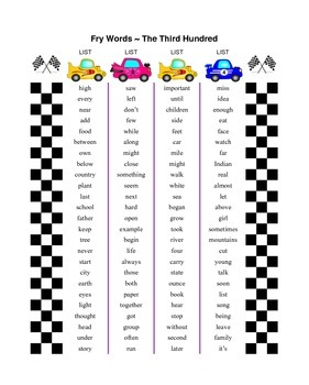 Fry Words (Race Car Theme)